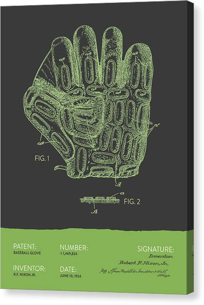Baseball Gloves Canvas Print - Baseball Glove Patent From 1924 - Gray Green by Aged Pixel