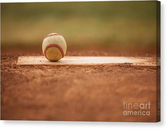 Baseball On The Pitchers Mound Canvas Print
