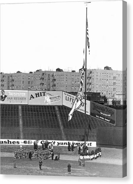 Yankee Stadium Canvas Print - Baseball Opening Day In Ny by Underwood Archives