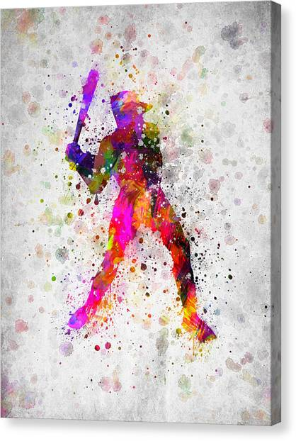 Baseball Players Canvas Print - Baseball Player - Holding Baseball Bat by Aged Pixel