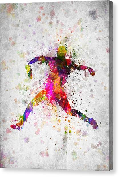 Softball Canvas Print - Baseball Player - Pitcher by Aged Pixel