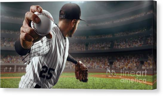 Gloves Canvas Print - Baseball Player Throws The Ball On by Alex Kravtsov