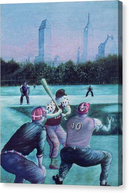 New York Central Park Baseball - Watercolor Art Canvas Print