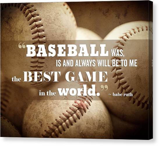 Baseball Canvas Print - Baseball Print With Babe Ruth Quotation by Lisa Russo