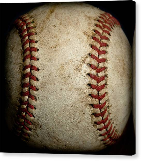 Baseball Canvas Print - Baseball Seams by David Patterson