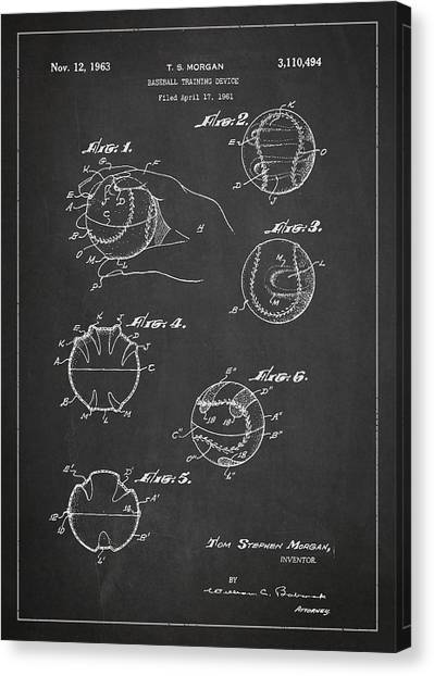Softball Canvas Print - Baseball Training Device Patent Drawing From 1961 by Aged Pixel