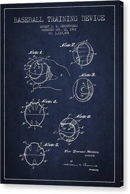 Softball Canvas Print - Baseball Training Device Patent Drawing From 1963 by Aged Pixel