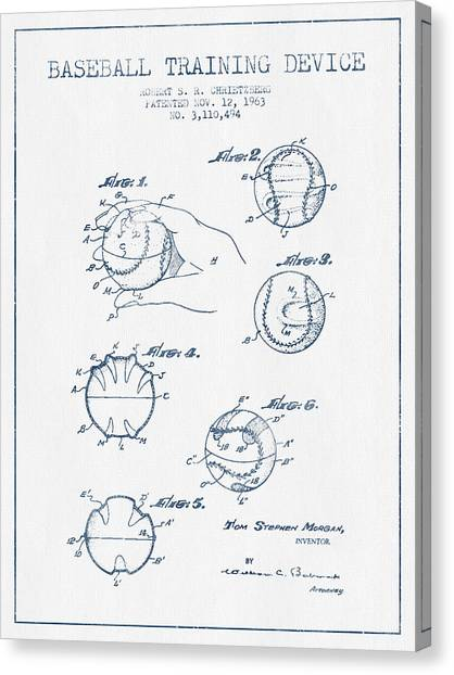 Softball Canvas Print - Baseball Training Device Patent Drawing From 1963 - Blue Ink by Aged Pixel