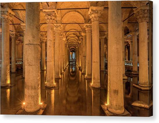 Byzantine Art Canvas Print - Basilica Cistern by David Parker