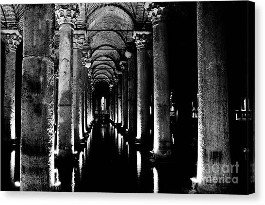 Byzantine Canvas Print - Basilica Cistern In Black And White by Emily Kay