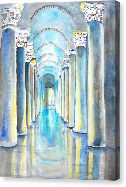 Byzantine Art Canvas Print - Basilica Cistern Istanbul Turkey by Carlin Blahnik CarlinArtWatercolor