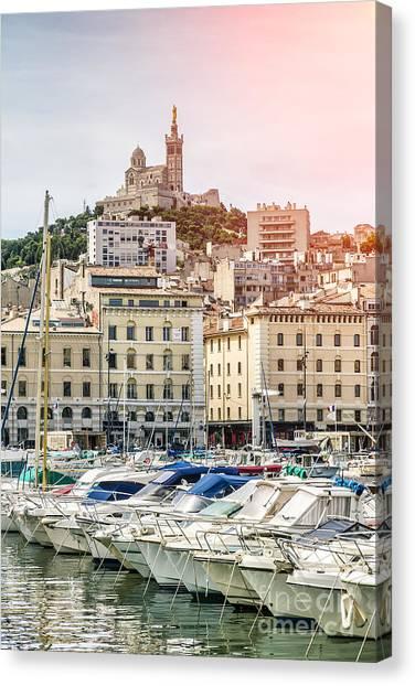 Basilique Notre-dame De La Garde From The Vieux Port Of Marseille Canvas Print by Pier Giorgio Mariani