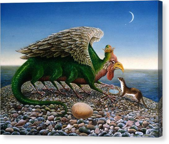 Weasels Canvas Print - Basilisk, 1986 Oils And Tempera On Paper by Frances Broomfield