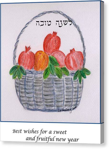 Canvas Print featuring the painting Basket For The New Year by Linda Feinberg