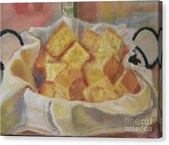 Cornbread Canvas Print - Basket Of Cornbread by Liz Dettrey