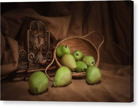 Fruit Baskets Canvas Print - Basket Of Pears Still Life by Tom Mc Nemar