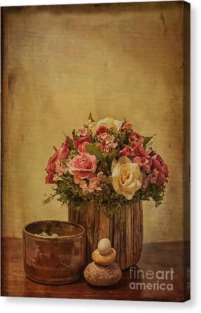 Basket Of Spring Roses Canvas Print