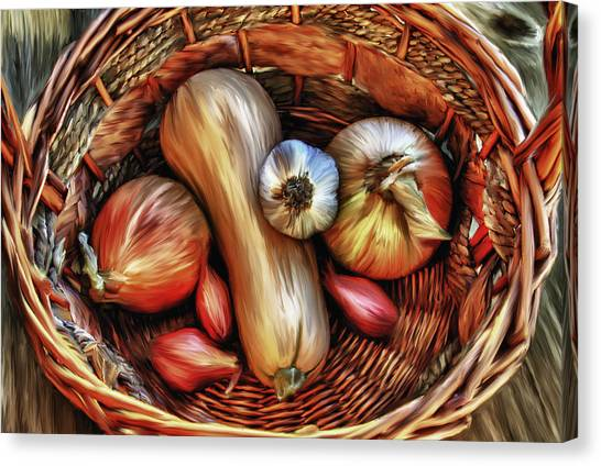 Basket Of Vegetables Canvas Print