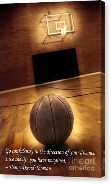 Three Pointer Canvas Print - Basketball And Success by Lane Erickson