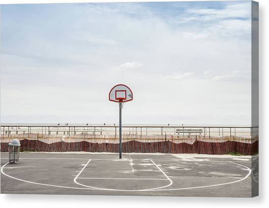 Basketball Court Against Cloudy Sky Canvas Print