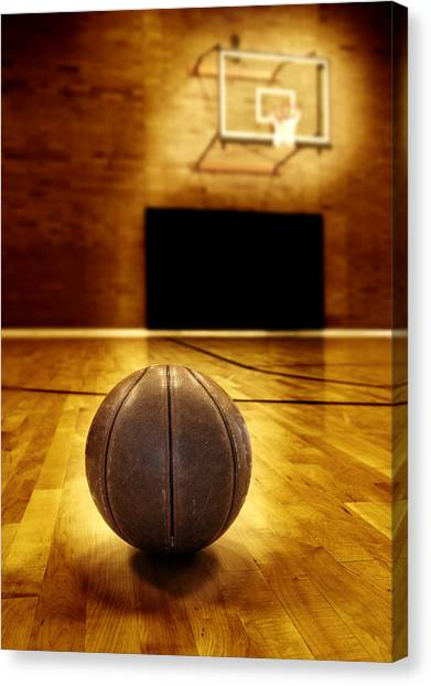 Three Pointer Canvas Print - Basketball Court Competition by Lane Erickson