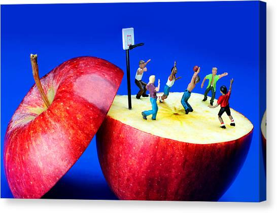 Basketball Games On The Apple Little People On Food Canvas Print