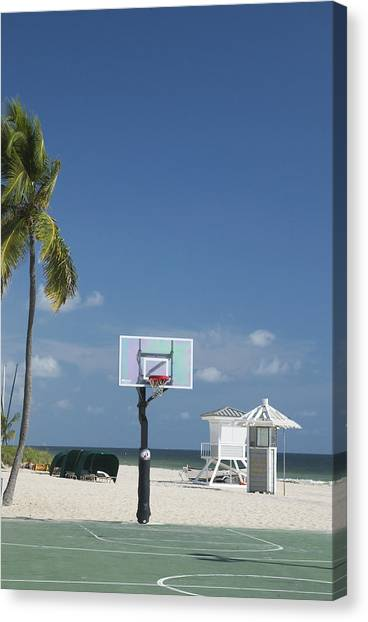 Basketball Goal On The Beach Canvas Print