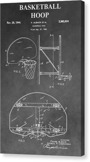 Three Pointer Canvas Print - Basketball Goal Patent by Dan Sproul