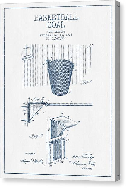 Slam Dunk Canvas Print - Basketball Goal Patent From 1925 - Blue Ink by Aged Pixel