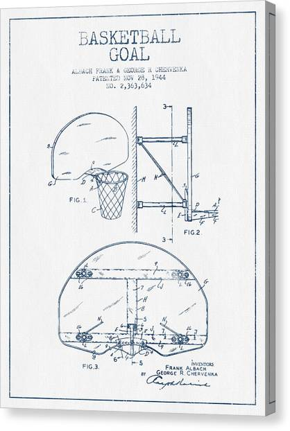 Basketball Canvas Print - Basketball Goal Patent From 1944 - Blue Ink by Aged Pixel