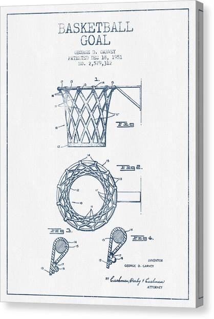 Basketball Canvas Print - Basketball Goal Patent From 1951 - Blue Ink by Aged Pixel