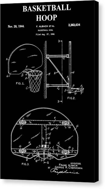 Three Pointer Canvas Print - Basketball Hoop Patent by Dan Sproul