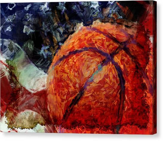 Basketball Abstract Canvas Print - Basketball Usa by David G Paul