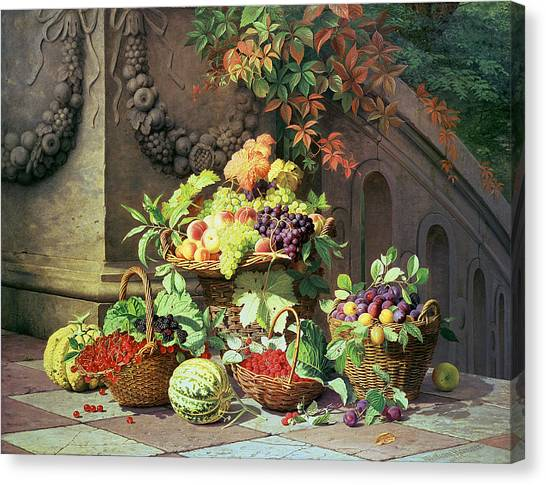 Fruit Baskets Canvas Print - Baskets Of Summer Fruits by William Hammer