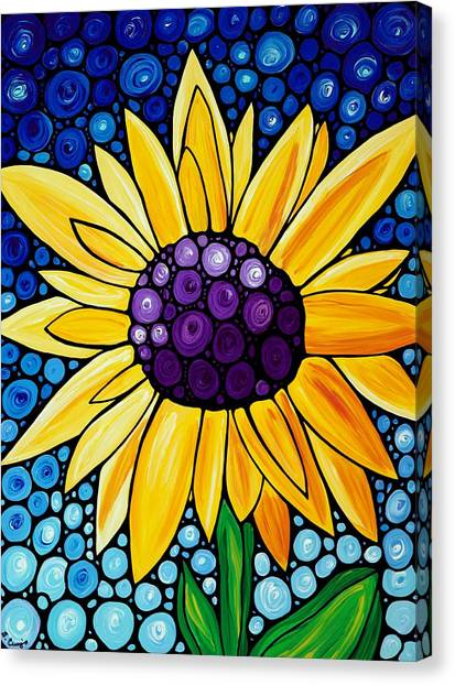 Sunflower Canvas Print - Basking In The Glory by Sharon Cummings