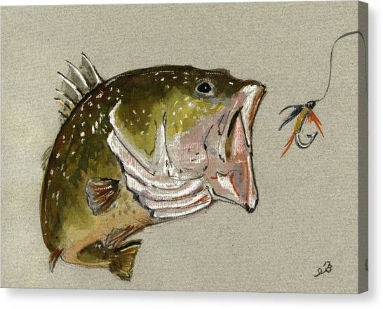 Smallmouth Bass Canvas Print - Bass Fish Fly by Juan  Bosco