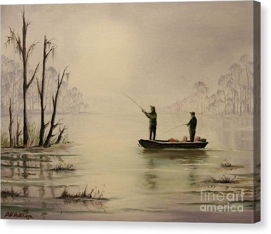 Bass Fishing Canvas Print - Bass Fishing In Florida by Bill Holkham