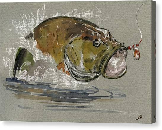 Bass Fishing Canvas Print - Bass Fishing by Juan  Bosco