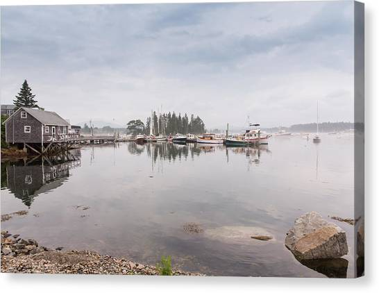 Bass Harbor In The Morning Fog Canvas Print