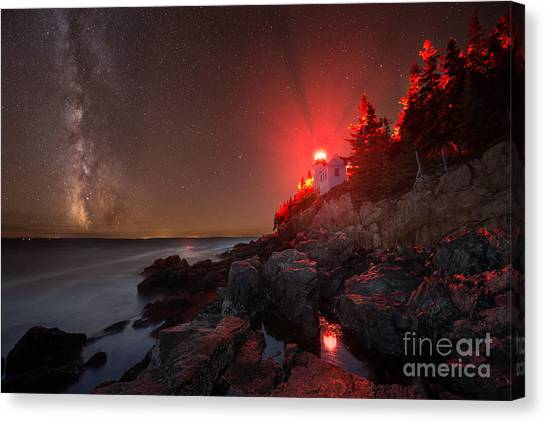 Mv Canvas Print - Bass Harbor Lighthouse Milky Way by Michael Ver Sprill