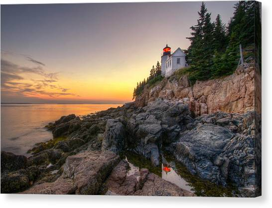 Bass Harbor Lighthouse Reflected In Tidal Pool Canvas Print