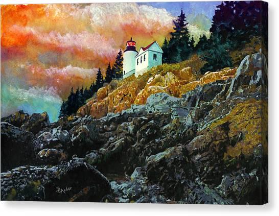 Bass Harbor Lighthouse Sunset Canvas Print