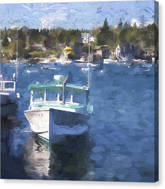 Harbor Canvas Print - Bass Harbor Maine Painterly Effect by Carol Leigh