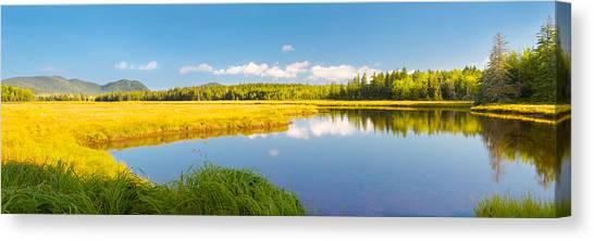 Bass Harbor Marsh Panorama Acadia National Park Photograph Canvas Print