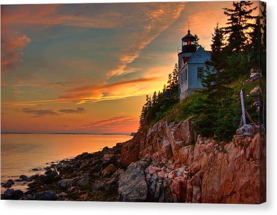 Bass Harbor Sunset Canvas Print by Norm Hoekstra