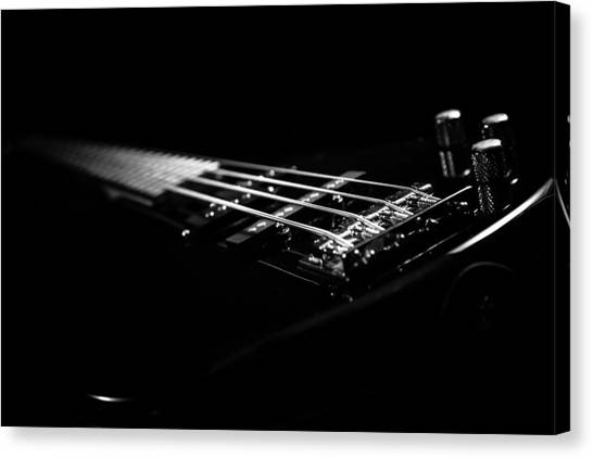 Bass Guitars Canvas Print - Bass On Black by Robert Hayton
