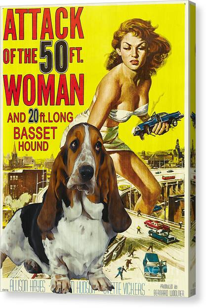 Basset Hound Art Canvas Print - Attack Of The 50ft Woman Movie Poster Canvas Print