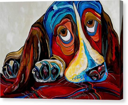 Unconditional Love Canvas Print - Bassett Has The Blues by Patti Schermerhorn