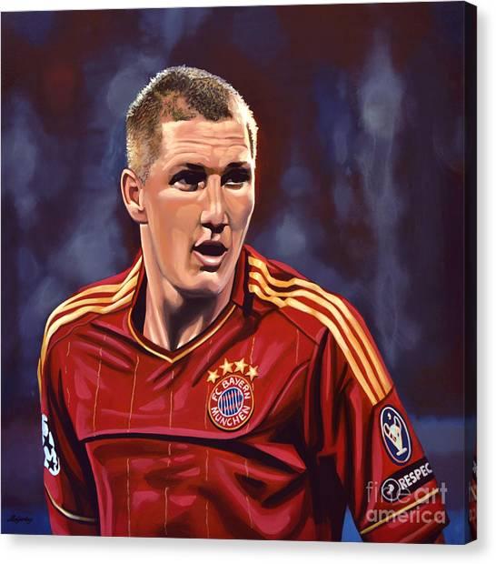 Football Players Canvas Print - Bastian Schweinsteiger by Paul Meijering