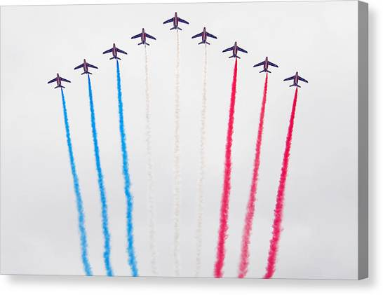 Bastille Day Air Show At The Champs-elysees Canvas Print